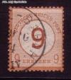 DR Mi. Nr. 30 o braunorange - neuer Wertaufdruck 9 auf 9 Kr