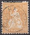Schweiz Mi. Nr. 24 Sitzende Helvetia 20 C o