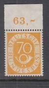 Bund Mi. Nr. 136 ** Posthorn 70 Pfennig mit Oberrand Luxus