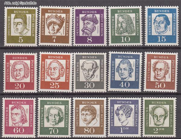 Briefmarken Berlin 1961 Michel Nr 199 213 Postfrisch Bedeutende