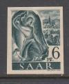 Saarland Abart Mi. Nr. 208 Z U ** 6 Pf. ungezähnt geprüft