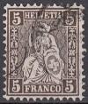 Schweiz Mi. Nr. 22 Sitzende Helvetia 5 C o