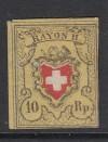 Schweiz Mi. Nr. 8 II (*) Wappen mit Posthorn signiert